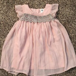Baby bgosh pink pleated dress w/ silver trimming